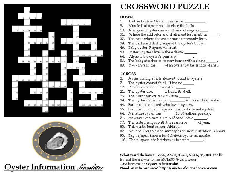 Oyster Aficionado Crossword