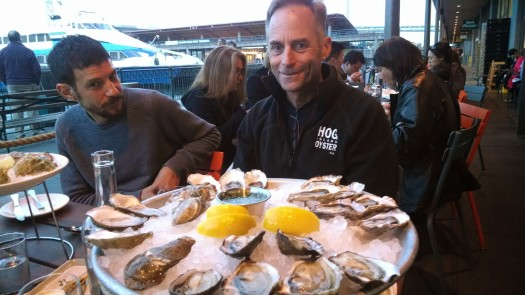 Waterbar's Erik Hyman and Hog Island's John Finger sampling the wares during HIOB's opening week