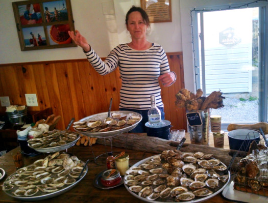 Karen Rivara of Peconic Pearls shows off the bounty.