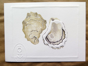 Hand-watercolored block print of a Glidden Point oyster made by Morgan Scully, daughter of Barb Scully of Glidden Point fame. Available by contacting Morgan at morgankscully@gmail.com